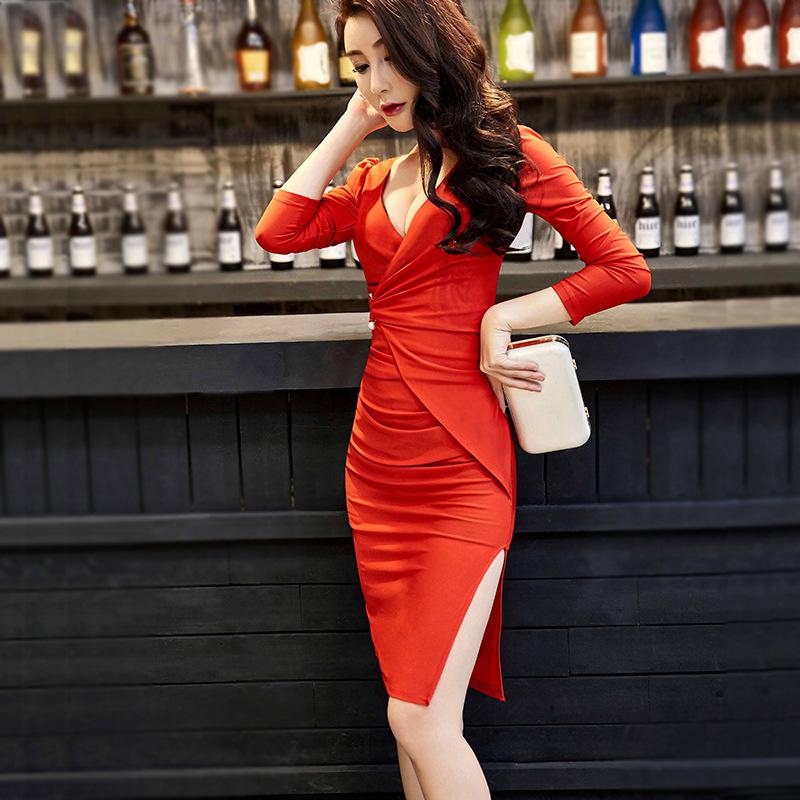夜店修身性感女装秋冬新款中长款主播开叉气质包臀不规则连衣裙潮