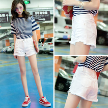 Denim shorts female summer 2018 new Korean high waist was thin loose hole size fat mm wide leg white hot pants