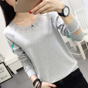 2017 new autumn clothes loose and long sleeve T-shirt sweater dress shirt Korean students autumn wear
