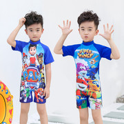 Foreign cartoon children swimsuit swimsuit cute boy baby sunscreen small boy swimsuit Siamese