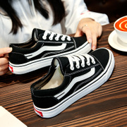 The winter with black velvet canvas shoes female student shoes board Harajuku ulzzang korean ins super fire warm shoes