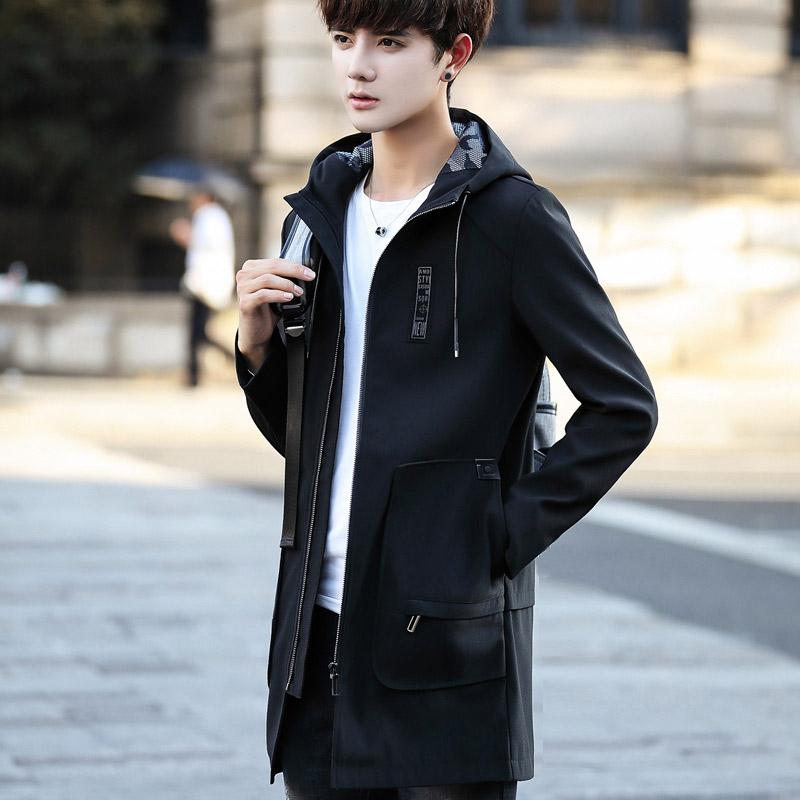 冬季男士外套韩版修身潮流2017中长款风衣帅气加绒加厚棉衣秋冬装