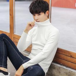冬季高领毛衣男韩版修身潮流白色男士打底针织衫加绒长领线衫加厚