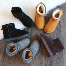 Leather boots female short tube size boots warm winter cotton boots with a thick shoes for men and women students