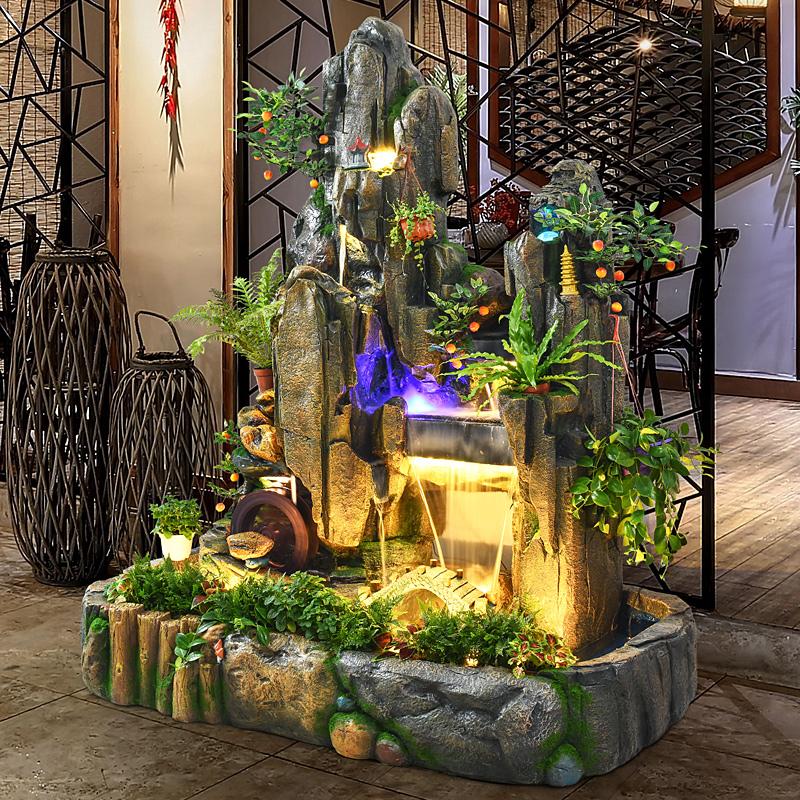 大型假山流水喷泉室内客厅鱼池招财风水轮落地摆件花园庭院装饰品