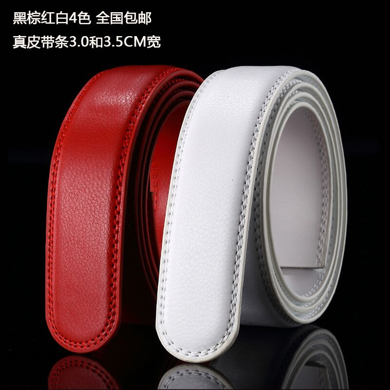 No head belt, single sale, leather automatic buckle, men's belt not lead, red white sliding belt special price