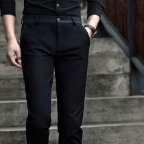 New spring suit pants mens business casual pants feet pants trousers Korean version of slim straight leg trousers mens black