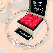 999 pure silver four-leaf clover sterling silver jewelry bracelet female heart-shaped birthday Korean jewelry send girlfriend birthday gift