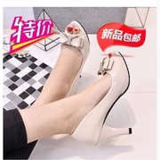 Daphne color 2017 new summer fish mouth waterproof shoes with thick high-heeled sandals OL occupation shoes