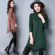 In the autumn of 2017 new long sleeved turtleneck slim tassel in half long sweater sweater dress tide all-match thickening