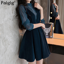 2017 autumn and winter new dress thick chic two suit strap dress small fragrant velvet dress