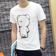 The summer youth men's slim white short sleeved t-shirt t-shirt cotton clothes half sleeve male summer trend