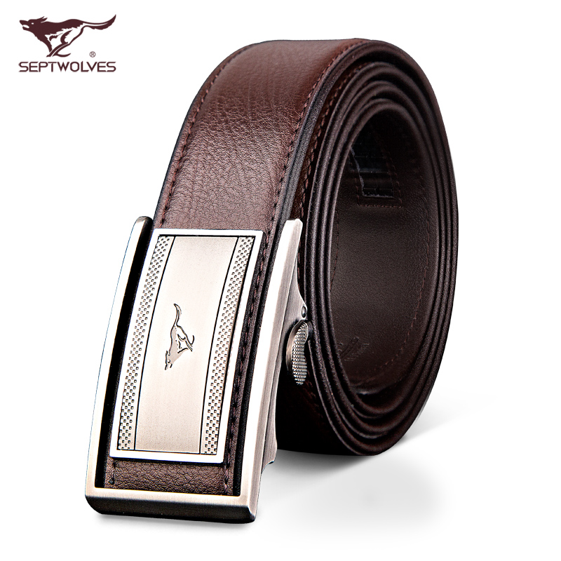 Septwolves men male buckle leather belt automatic belt leather business men all-match genuine youth tide belt