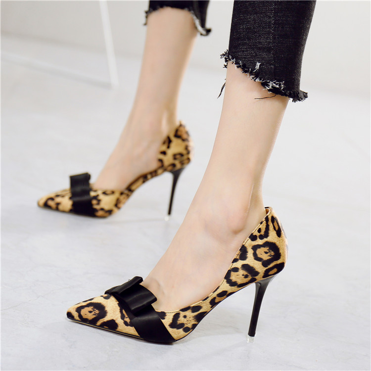 Europe and the United States Sexy Leopard tip, side empty lady, single shoes, fashion temperament, butterfly knot, shallow mouth, heel, high heels, female autumn