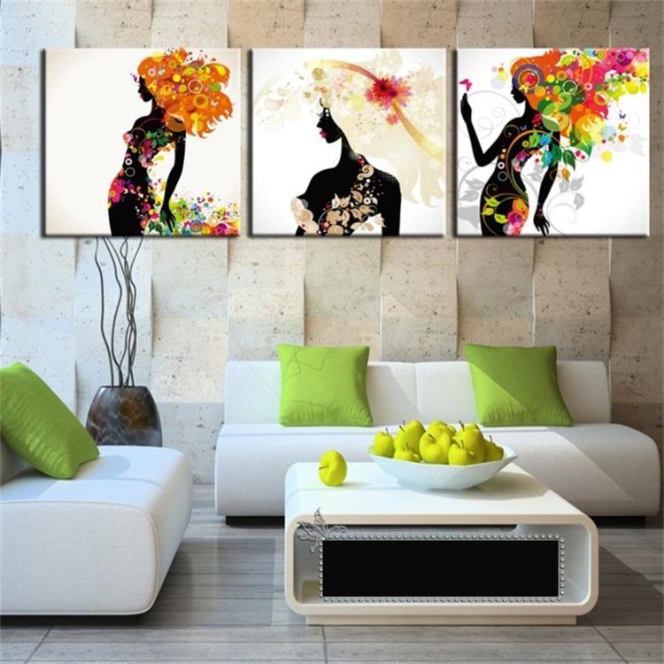 现代时尚装饰画 客厅卧室 三联画 无框画 挂画人物壁画卡通美女