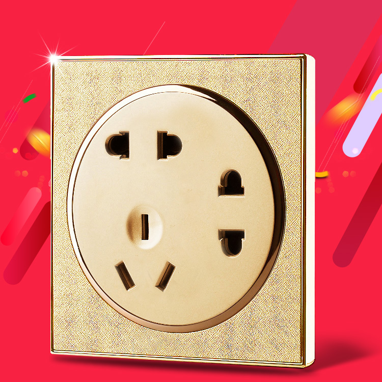86 type switch socket 10A 2237 hole socket Champagne Gold Tea Simon switch home socket panel