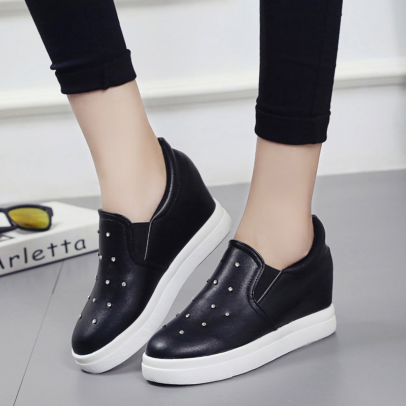 2017 Korean muffin thick bottom increased loafer all-match leisure shoes shoes shoes lazy diamond white shoes