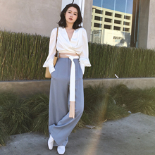 ◆ ANNA ◆ 2018 spring new fashion hit color belt shirt V-neck long-sleeved shirt fashion women's white
