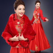 The new 2016 red wedding bride wedding dress style dress cheongsam show Wo thin Wedding Toast clothing in winter