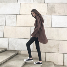 The autumn wind in the long section of the new Harajuku female striped shirt loose all-match split BF student leisure primer coat