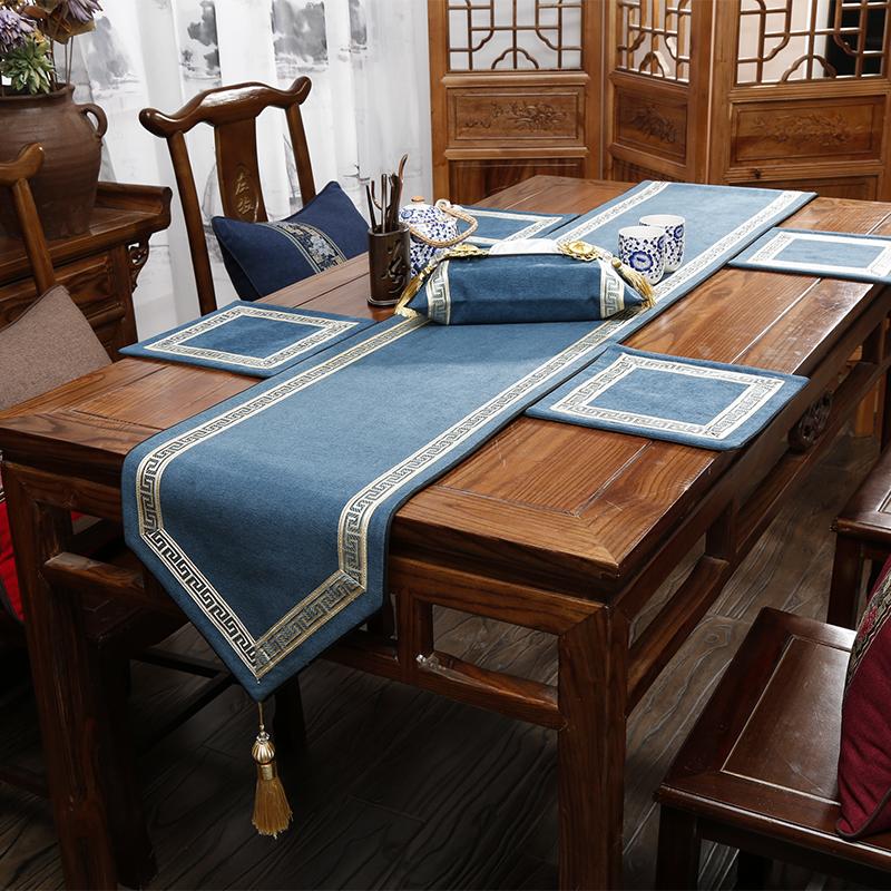 古典棉麻风桌旗茶席 日式茶垫中式禅意亚麻布艺茶旗茶台布桌布
