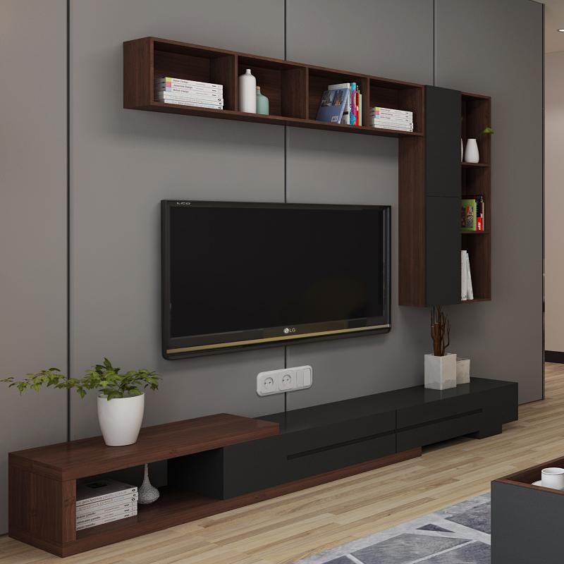 现代简约可伸缩茶几电视柜组合套装 北欧客厅壁柜吊柜电视背景墙