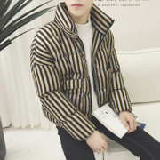 17 slim padded collar coat winter new American casual vertical stripes stuffed bread and cotton clothing for young men