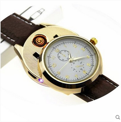 HuaYue home furnishings of 7 colour watch cigarette lighter standard USB environmental really watch portable rechargeable lighter
