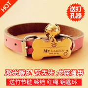 The identity card Teddy golden collar custom tags laser engraving cat custom pet listing bell Necklace