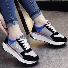 2017 casual shoes M shoes running shoes breathable elastic cloth mesh thickness increase in black and white