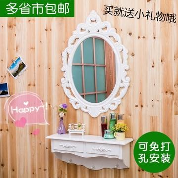 欧式壁挂梳妆台镜子卧室简约现代白色宜家迷你影楼挂墙壁化妆台桌