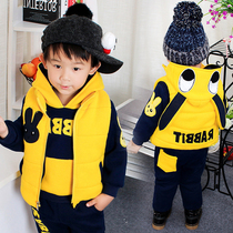 Babies small children wear winter 2016 new boys sweater set three piece set thickened and velvet autumn 1-6