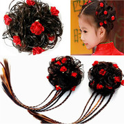 Buy a child wig children hair ornaments small Mabauli headdress cartoon hairpin girl hair circle hair rope plait