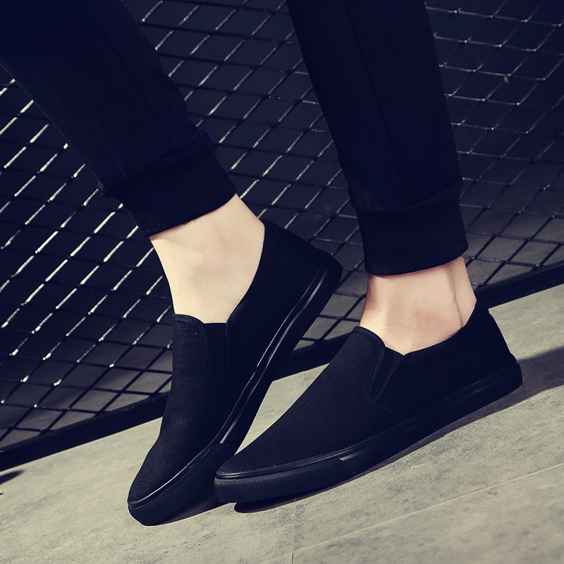 Summer Mens Black Canvas shoes casual shoes old Beijing shoes with flat shoes slip-on.