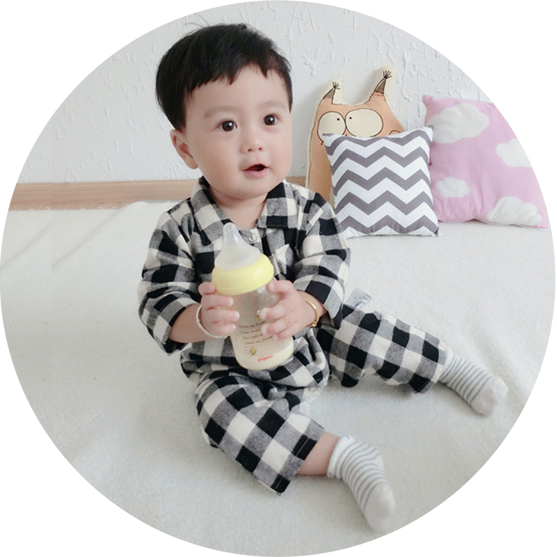The spring and autumn baby romper plaid shirt collar conjoined clothes 0-1 years long sleeved clothes 2 baby out spring and Kazakhstan