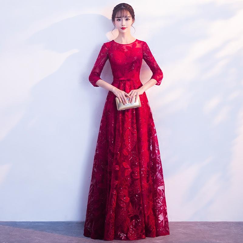 敬酒服2017新款冬季红色长袖回门礼服长款婚礼宴会新娘显瘦晚礼服