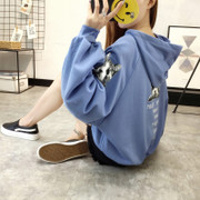 New Korean tide bubble sleeve loose ulzzang Hoodie and cashmere coat BF thick female students