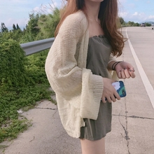 Hong Kong Flavor Vintage chic Lazy loose thin section long-sleeved sweater summer wild thin sunscreen clothing cardigan women