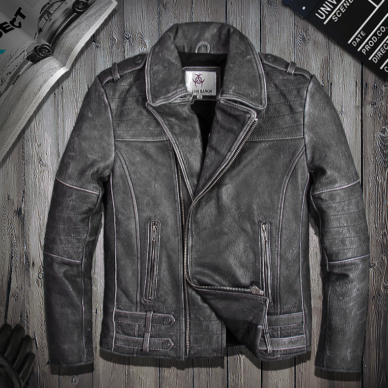 Motorcycle Leather Men's slim, short lapel, leather jacket, Harley's retro, old slim coat, motorcycle suit
