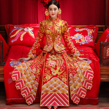 Show Wo clothing bride 2018 new style Phoenix costume Chinese wedding dress wedding dress show kimono wedding dress