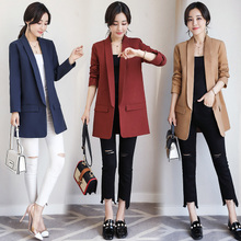 Small suit female 2017 spring new long sleeved OL Korean all-match slim slim long suit cotton coat