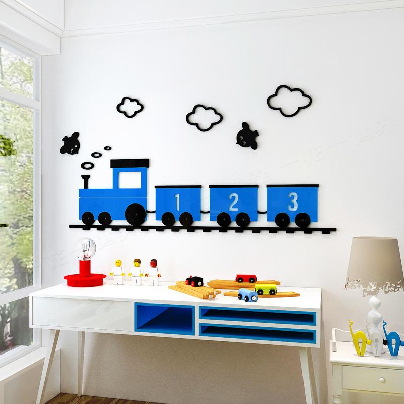 创意卡通小火车3d亚克力立体墙贴画卧室儿童房床头宝宝房间装饰品