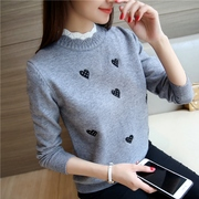 Autumn and winter sweater female insert 2017 new Korean embroidery loose all-match knitted bottoming shirt short false two
