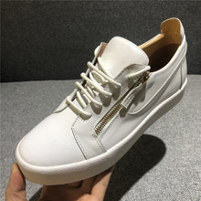 Hong Kong European station summer new products gz mens shoes white shoes leather cl low metal buckle tide Korean casual shoes