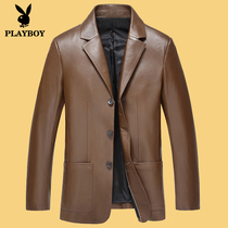 Spring and autumn Playboy mens suits mens leather short bi-Korean slim suit as leather mens jacket coat
