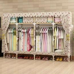 简易实木牛津布衣柜加固衣柜组装布艺简约实用宿舍衣柜升级加固