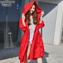 Sun protection clothing female long section 2018 summer new women's Korean version of the loose beach holiday sun protection clothing windbreaker jacket