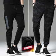 Autumn and winter men's athletic pants with velvet pants pants pants thickening Korean Haren pants pants men's fashion