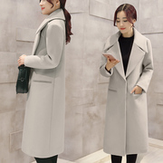 2016 Korean winter new woolen coat thick wool tweed coat girls long coat loose slim profile