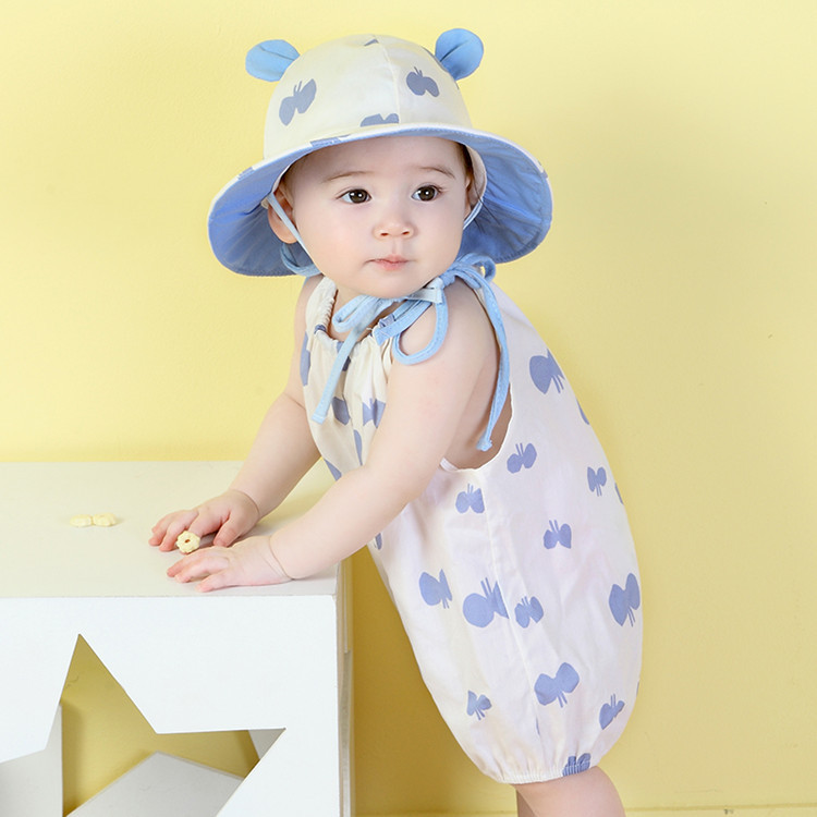 2017 summer new Korean children's clothing, infant cotton conjoined garment, ha baby clothes, climbing suit, hat set